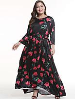 0c8a16f6 billige Kjoler i plus størrelser-Dame Elegant Swing Kjole - Blomstret,  Patchwork Maxi