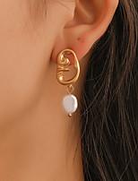 42c3a0ba98c1 abordables Pendientes-Mujer Pendientes colgantes Perla Artificial Aretes  Rostro Simple Barroco Étnico Boho Joyas Dorado