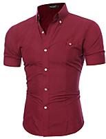 7af28ac3f3f90 رخيصةأون قمصان رجالي-رجالي قميص لون سادة   ألوان متناوبة أرجواني XL
