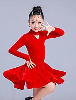 economico -Balli latino-americani / Abbigliamento da ballo per bambini Vestiti Da ragazza Addestramento / Prestazioni Elastene / polyster A pieghe Abito