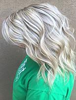 voordelige -Human Hair Capless Pruiken Echt haar Gekruld / Natuurlijk golvend Gelaagd kapsel Stijl Modieus Design / Dames / Ombre-haar Meerkleurig Gemiddelde Lengte Zonder kap Pruik Dames / Allemaal