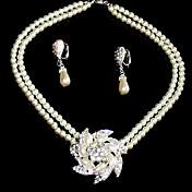豪華なクリスタル/人造真珠♥ウェディング♥ジュエリーセット(ネックレス、ピアス)