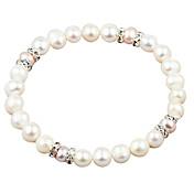 elegante perla blanca de agua dulce y brazalete elástico de cristal estilo elegante