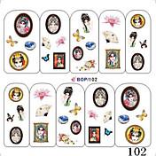 5PCS Agua impresión de la transferencia Nail Stickers NO.1 (colores surtidos)