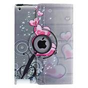 iPadの2/3/4用スタンドとハート型の花柄360度回転可能なPUレザーフルボディケース