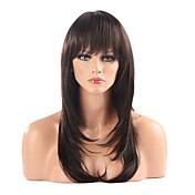 Mujer Pelucas sintéticas Largo Corte a capas Con flequillo Peluca natural negro peluca Peluca de Halloween Peluca de carnaval Las pelucas