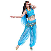 Danza del Vientre Accesorios Mujer Representación Gasa Cuentas Monedas 4 Piezas Sin mangasTop Pantalones Bufanda Hip y cinta de Danza del