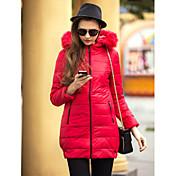 ts cuello de piel delgado largo hoodied abajo chaqueta temperamento cálido y cómodo