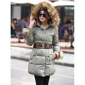 ベルト付きの女性の毛皮の襟パーカーコート