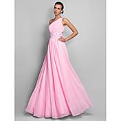 A-line en skulder gulvlængde chiffon prom sort slips gala kjole med beading af ts couture®