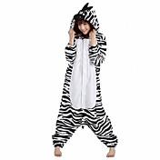 Pijama kigurumi Cebra Pijama Mono Pijamas Disfraz Lana Polar Negro / blanco Cosplay por Adulto Ropa de Noche de los Animales Dibujos