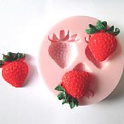 ケーキのための3つの穴イチゴ果実のシリコーン型のフォンダン金型のシュガークラフトツール、チョコレートモールド
