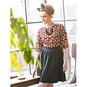TS contraste vestido de cuello redondo de color