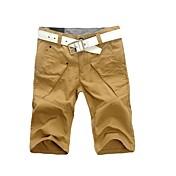 Shorts De los hombres Un Color Casual-Mezcla de AlgodónNegro / Verde / Amarillo