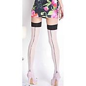 nueva moda de la mujer a través de medias transparentes hasta la rodilla, encaje / nylon