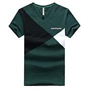 男性用 カラーブロック カジュアル Tシャツ,半袖 コットン,ブルー / グリーン / レッド / イエロー