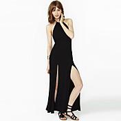 最高品質でのRICHCOCO女性のスリムノースリーブホルター背中の開いたサイドスリットのドレス