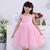 Vestido Chica de Un Color Algodón Manga Corta Verano Rosa