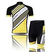 XINTOWN Hombre Manga Corta Maillot de Ciclismo con Shorts - Negro Amarillo Azul Bicicleta Shorts/Malla corta Camiseta/Maillot Sets de