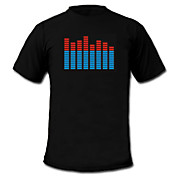 Camiseta EL LED con Visualizador de Espectro VU Activado por Música y Sonido (4*AAA)
