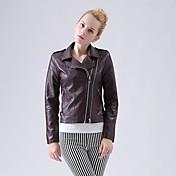 Yinbo color sólido de la chaqueta de la cremallera de la PU de las mujeres locomotora ™