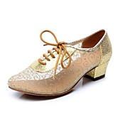 Mujer Zapatos de Baile Moderno / Salón Encaje / Lentejuelas Tacones Alto Lentejuela Tacón Bajo No Personalizables Zapatos de baile Morado