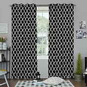 Corredizo Anillo Lazo de tela Dos Paneles Ventana Tratamiento De Diseño , Estampado Dormitorio Poliéster Material cortinas cortinas