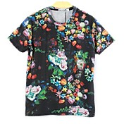 Camiseta De los hombres Estampado-Casual-Mezcla de Algodón-Manga Corta