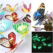 3Dの壁のステッカー壁のステッカー、発光美しい蝶PVCウォールステッカー(ランダムミックス色)(12個)