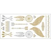 1pcの金と銀の金属ネックレスのブレスレットタトゥーステッカー