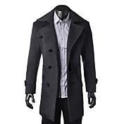 Zian®men's Lapel Collar  Zipper Solid Color Woolen Long Sleeves Trench Coat