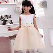 Vestido de la muchacha de flor de la longitud del té del vestido de bola - algodón cuello sin mangas de la joya con applique