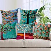 アメリカの牧歌的な枕カバー手描きのスタイルの綿のクッションは、蘭のパターンの部屋をカバー