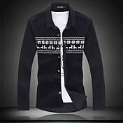 男性用 プリント カジュアル シャツ,長袖 コットン