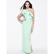 Funda / Columna Un Hombro Hasta el Suelo Algodón Evento Formal Vestido con Cinta / Lazo por TS Couture®