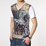男性用 プリント カジュアル Tシャツ,半袖 コットン,マルチカラー