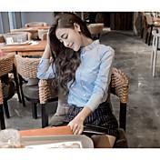 婦人向け カジュアル/普段着 夏 シャツ,シンプル / ストリートファッション ソリッド ブルー / ホワイト 長袖 薄手