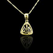 18K本物の金はアッラーイスラム教徒のジルコンのペンダント3 * 1.7センチメートルメッキ
