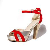 Mujer Zapatos Semicuero Ante Sintético Primavera Verano Tacón Stiletto Plataforma Hebilla para Vestido Negro Rojo