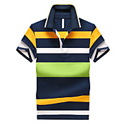 男性用 半袖 ポロシャツ , コットン カジュアル/オフィス/フォーマル/スポーツ/プラスサイズ ストライプ