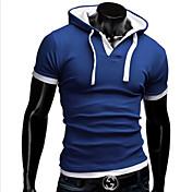 MEN Tシャツ ( コットンブレンド ) カジュアル パーカー - 半袖
