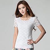 WOMEN - カジュアル/レース - Tシャツ ( コットンブレンド ラウンド - 半袖