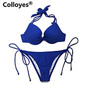 De las mujeres Bikini - Color Único Sujetador Acolchado - Con Cordones - Nailon/Espándex