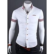 MEN カジュアルシャツ ( コットン/ライクラ/ポリエステル ) カジュアル/パーティー/仕事 ワイシャツカラー - 半袖