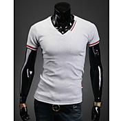 MEN Tシャツ ( コットン/ライクラ/ポリエステル ) カジュアル/パーティー/仕事 ワイシャツカラー - 半袖