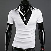 男性のプラスサイズのパッチワーク黒/白ポール、カジュアルシャツの襟半袖