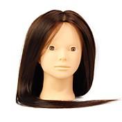 resistente al maniquí femenino salón de pelo sintético de calor cabeza sin maquillaje de color marrón
