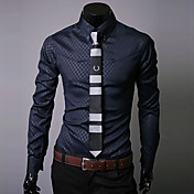 Camisa De los hombres A Cuadros Casual / Trabajo / Formal-Mezcla de Algodón-Manga Larga-Negro / Azul / Blanco