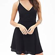 婦人向け ストラップ フロントクロス/バックレス ドレス , シフォン 膝上 ノースリーブ