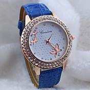 Mujer Reloj de Pulsera Gran venta PU Banda Mariposa / Moda Negro / Blanco / Azul
